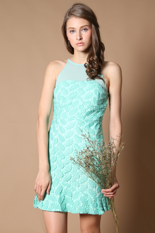Cornelia Crochet Drop Waist Dress in Tiffany