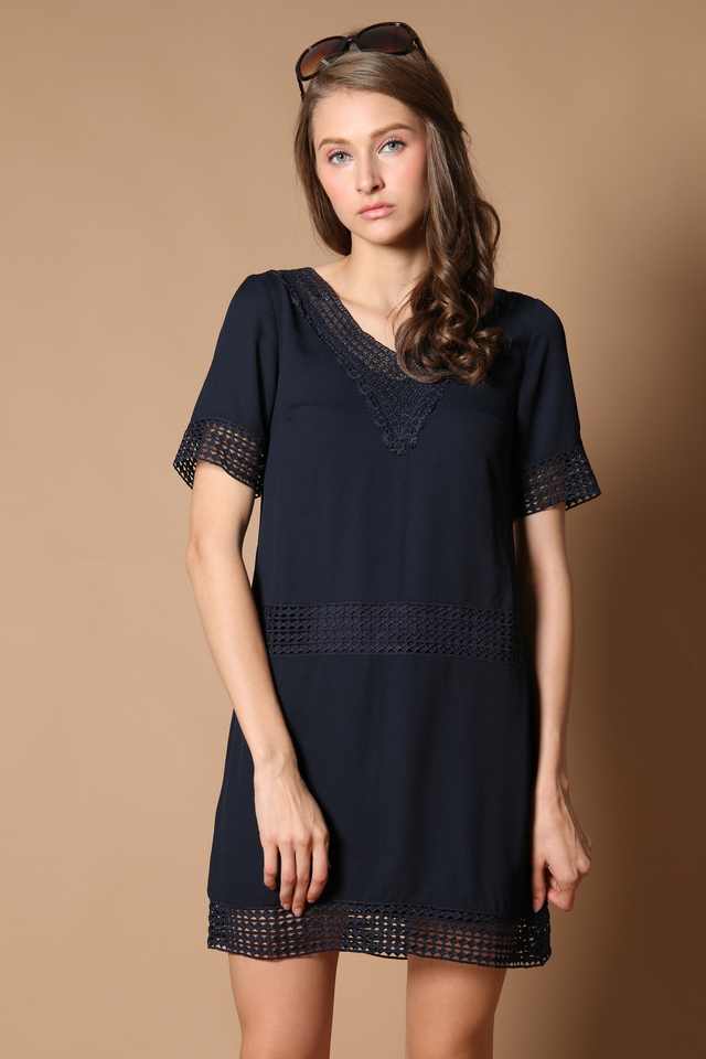 Dion Crochet Lounge Dress in Navy (XS)