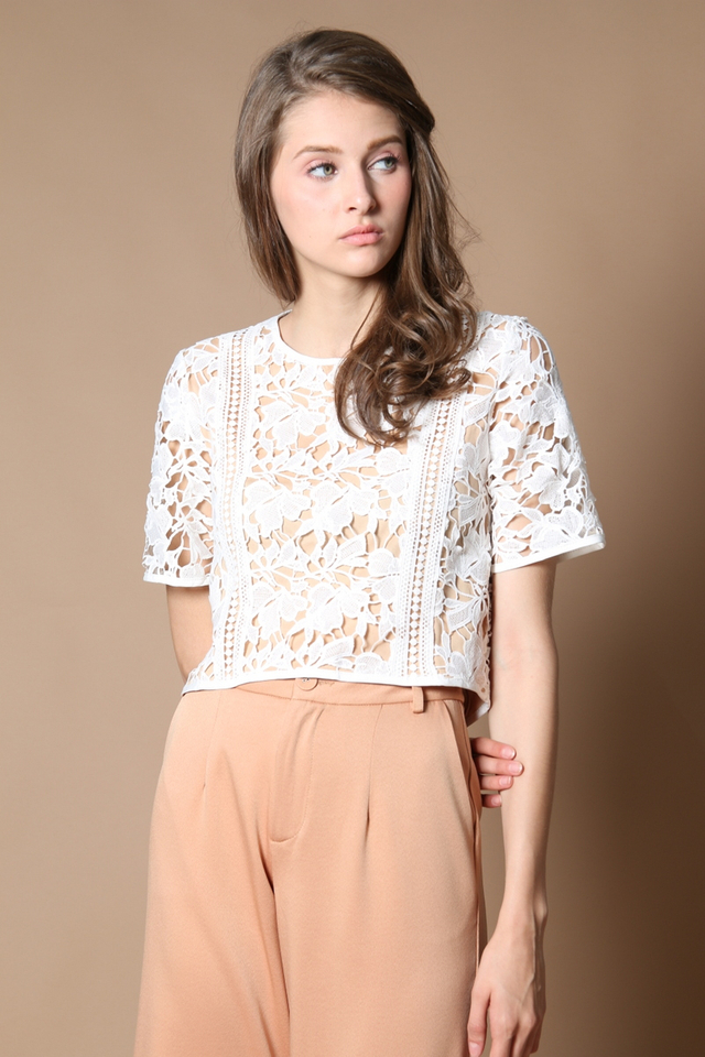 Beccy Crochet Panel Top in White