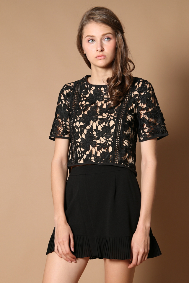 Beccy Crochet Panel Top in Black (XS)