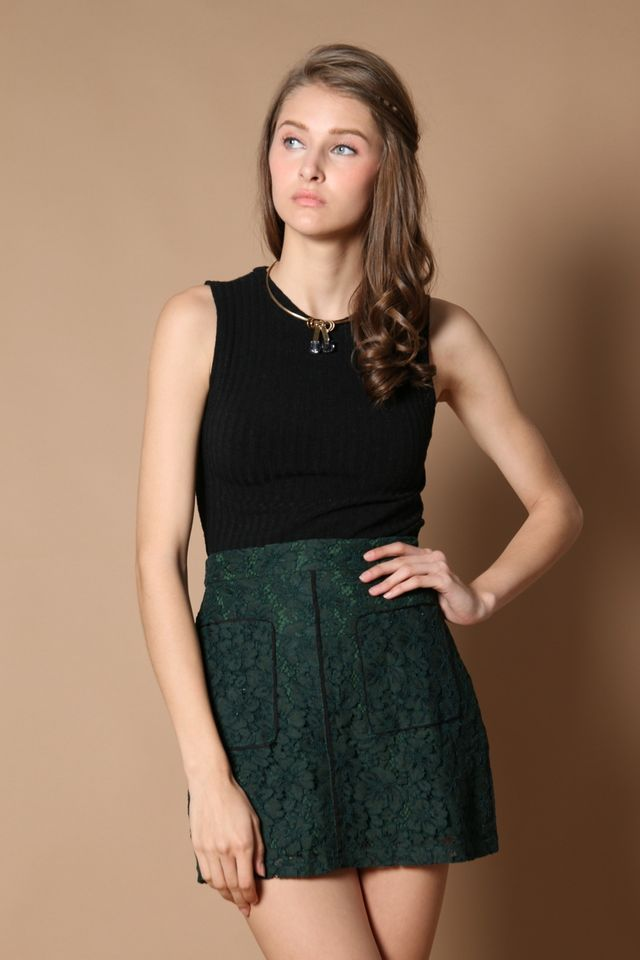 Quenny Contrast Lace Skirt in Forest (XS)
