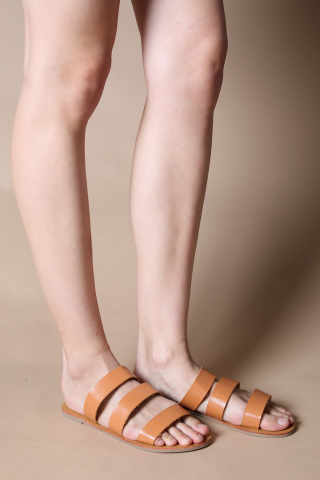 Sadie Straps Sliders in Tan