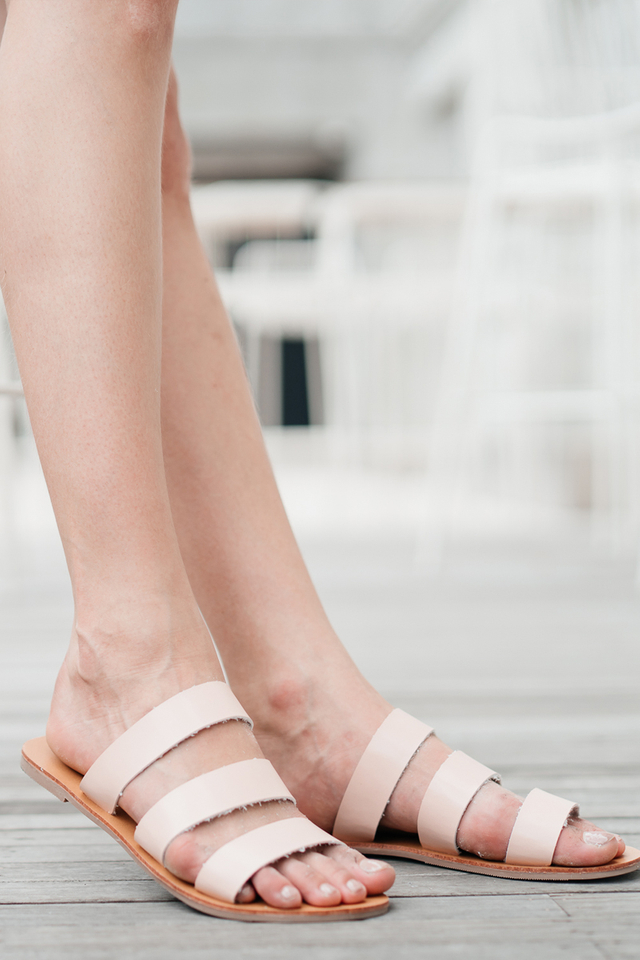 Sadie Straps Sliders in Nude Pink