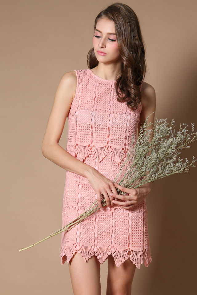 Darwin Crochet Tiered Dress in Peach (XS)