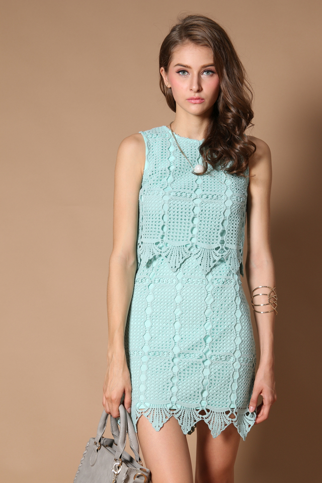 Darwin Crochet Tiered Dress in Mint (XL)
