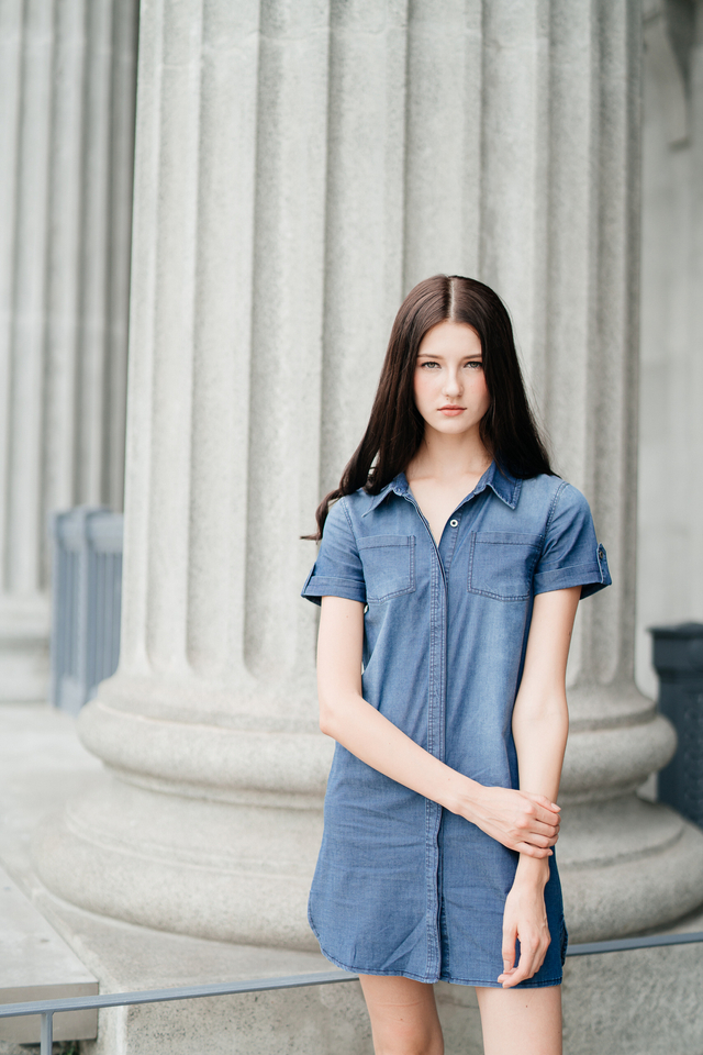 Saxon Denim Shift Dress in Light Denim