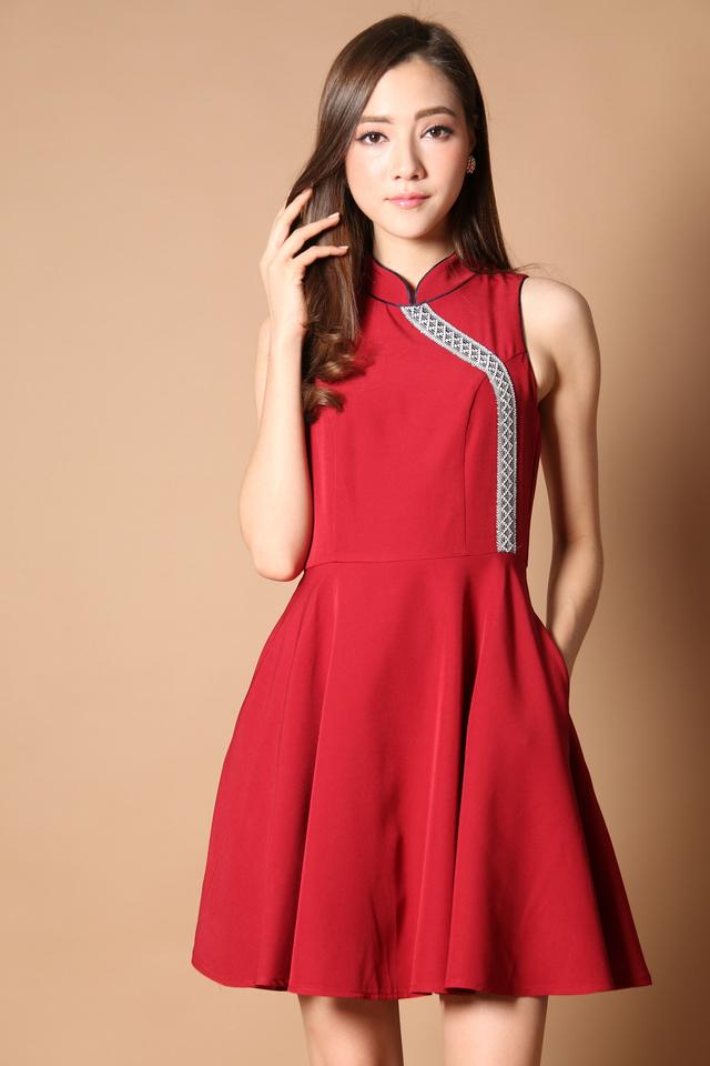 Prosperous Embroidery Cheongsam Dress in Festive Red (XS)