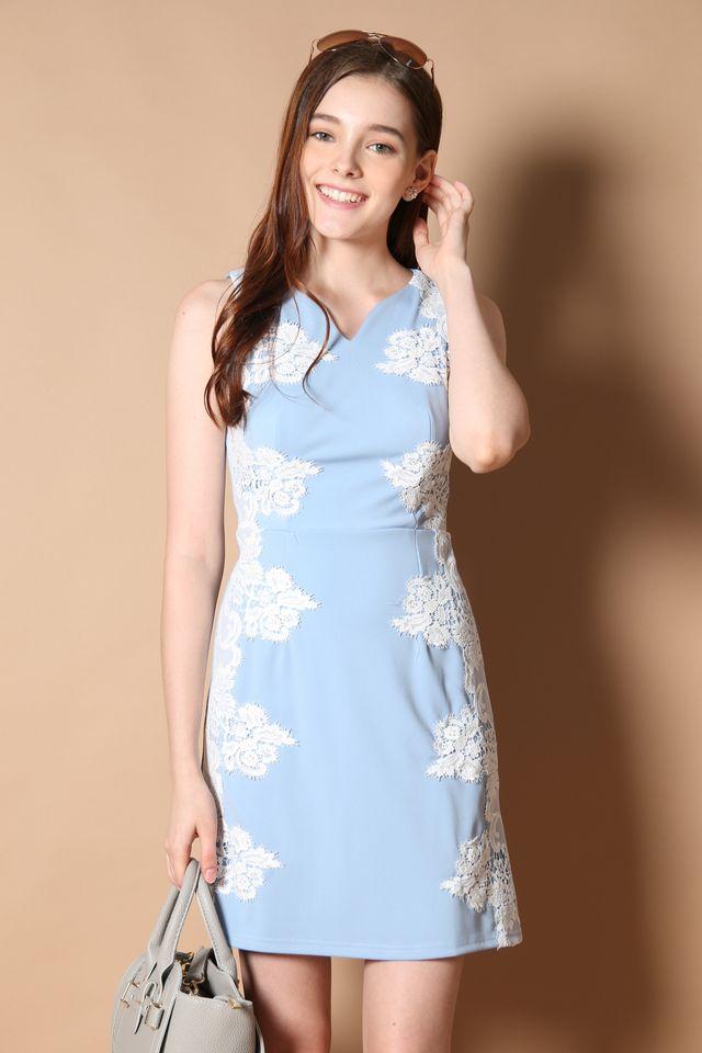 Hepburn Crochet Panel Dress in Powder Blue (XS)