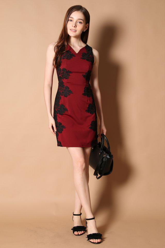 Hepburn Crochet Panel Dress in Wine Red (XS)