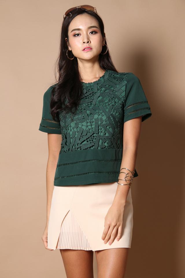 Jana Crochet Sleeve Top in Forest (XS)