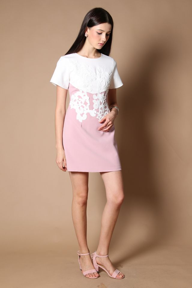 Queen Embroidery Work Dress in Dusty Pink (XS)