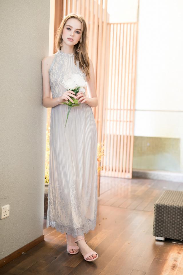 Victoria Lace Maxi Dress in Dusty Blue (XL)