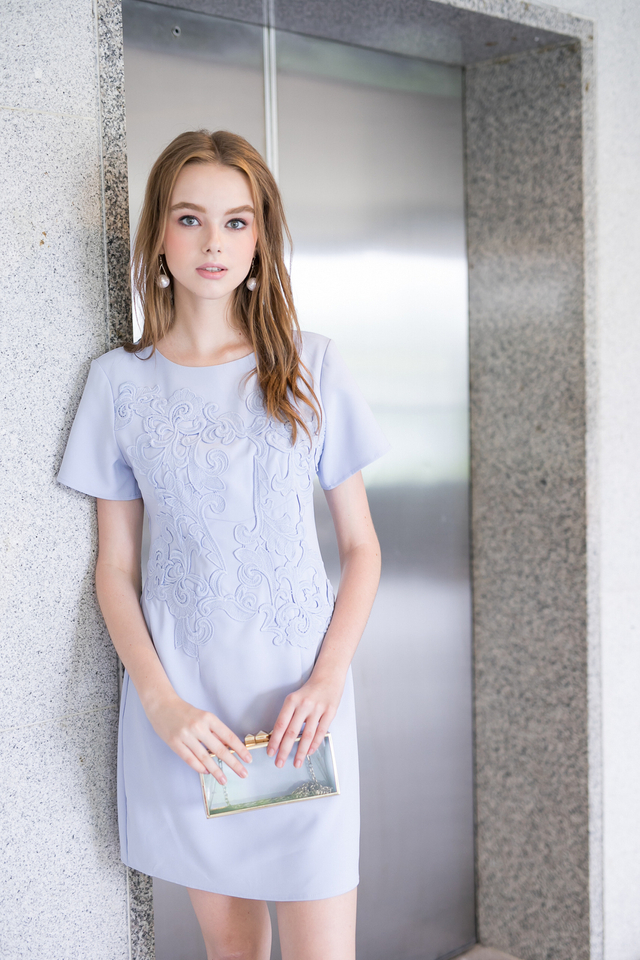 Queen Embroidery Work Dress in Powder Blue (XS)