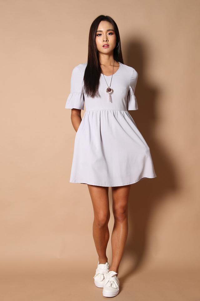 Sonia Bell Sleeve Babydoll Dress in Dusty Lilac