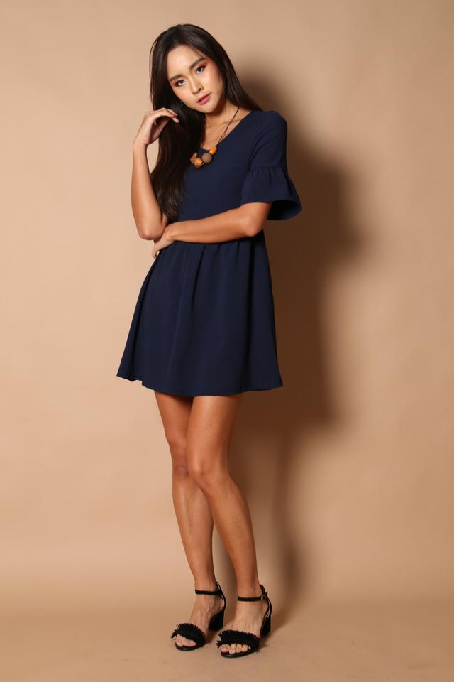 Sonia Bell Sleeve Babydoll Dress in Navy