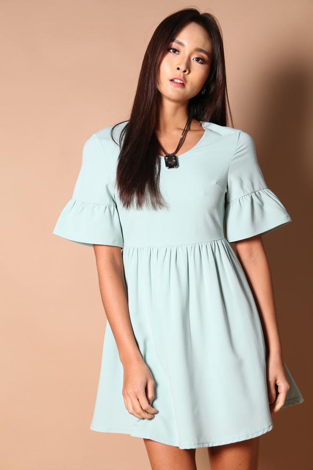 Sonia Bell Sleeve Babydoll Dress in Mint