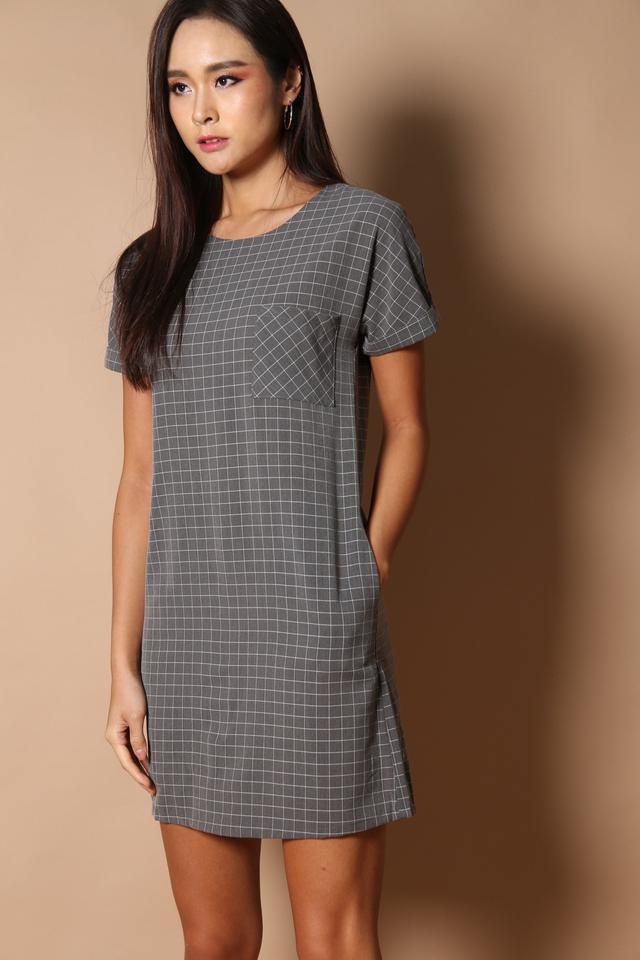 Olin Pocket Shift Dress in Dark Grey (S)