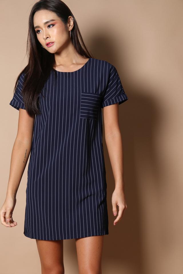 Olin Pocket Shift Dress in Navy
