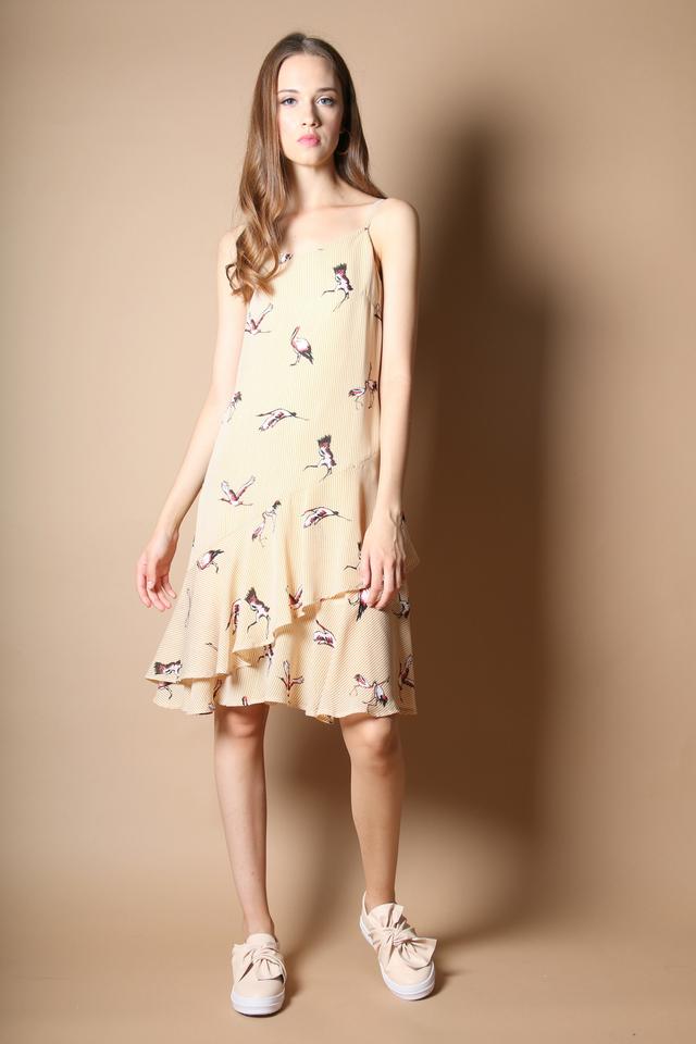 Carmen Stork Tiered Dress in Mustard