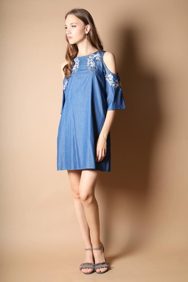 Lynn Cold Shoulder Embroidery Dress in Dark Blue