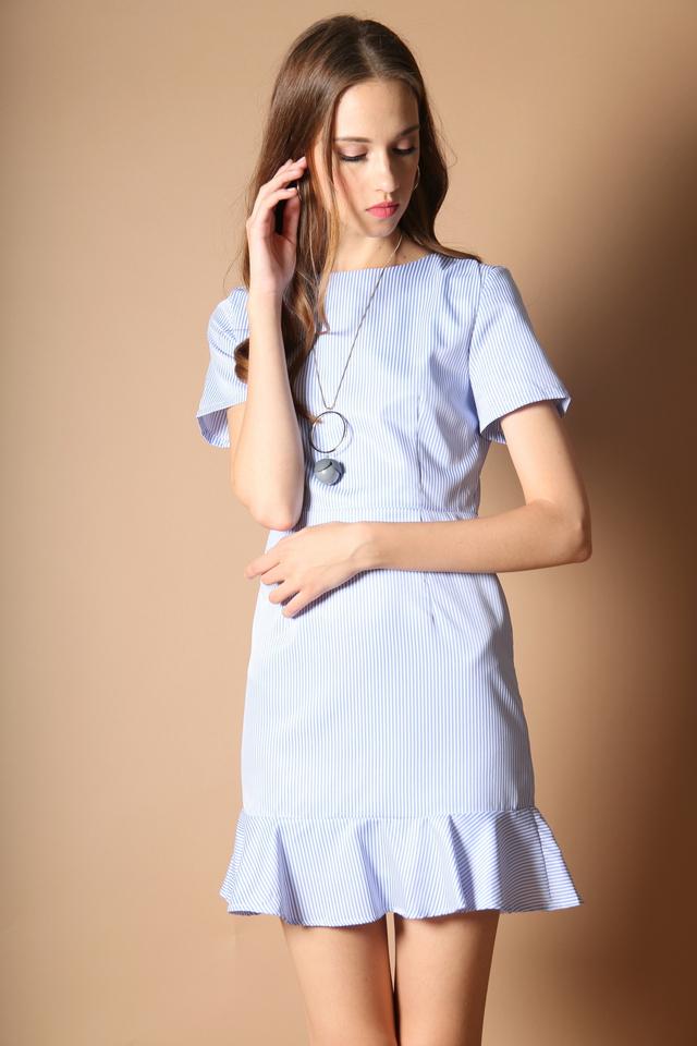Cynthia Pinstripe Dropwaist Dress in Blue Stripes (L)