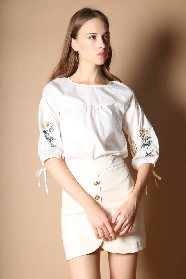 Reedly Embroidery Sleeve Top in White