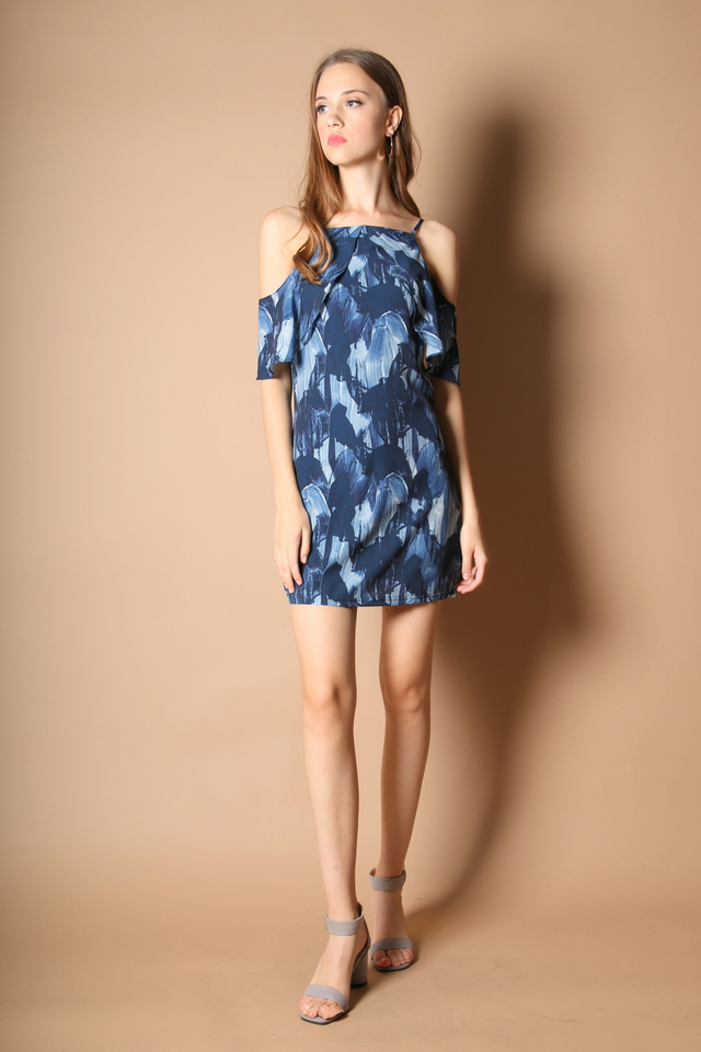 Ferille Cold Shoulder Dress in Navy Blue