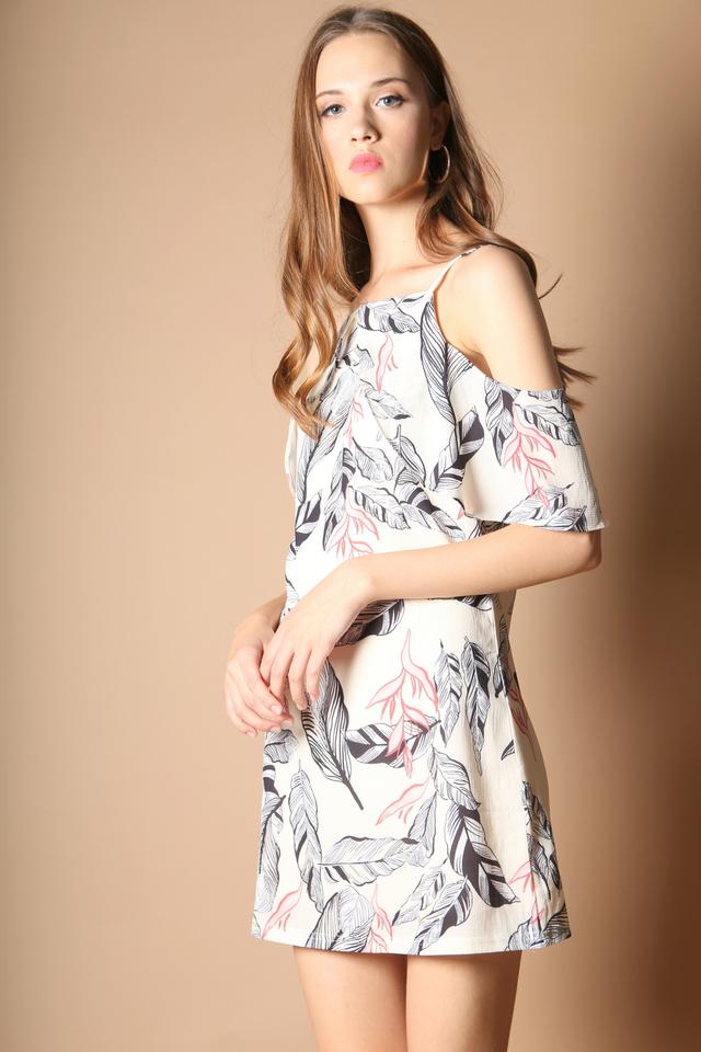 Ferille Cold Shoulder Dress in Nude (L-XL)