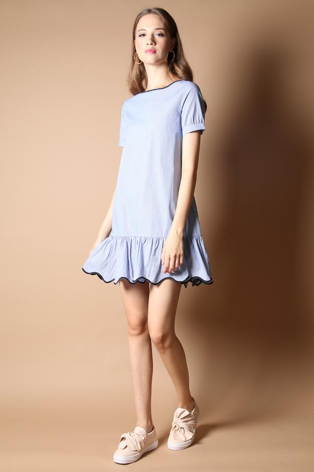 Phoebe Pinstripe Dropwaist Dress in Blue (L)