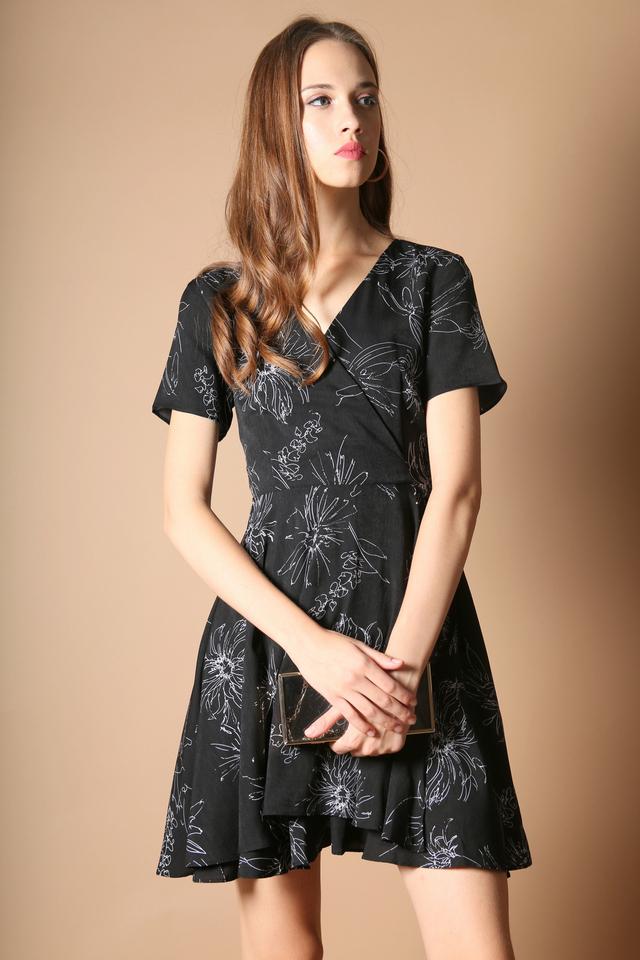 Sheila Floral Dress in Black