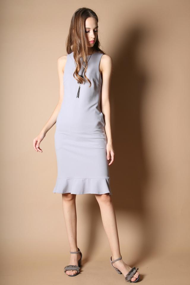 Allison Dropwaist Midi Dress in Grey