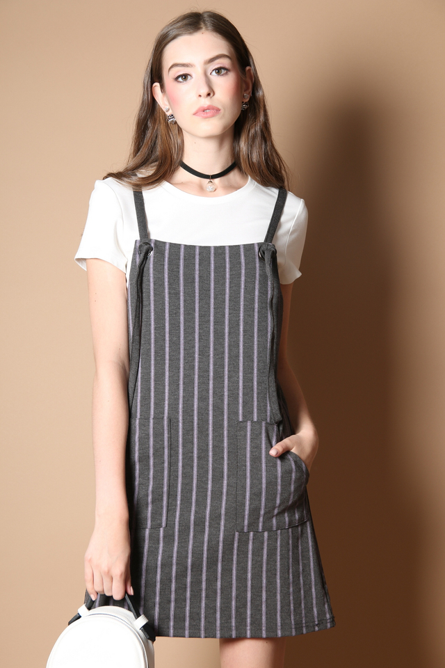 Kathlyn Two Piece Pinafore Dress in Grey