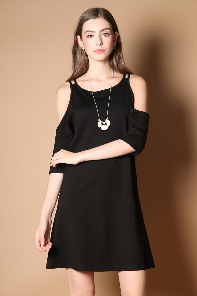 Lovell Cold Shoulder Dress in Black