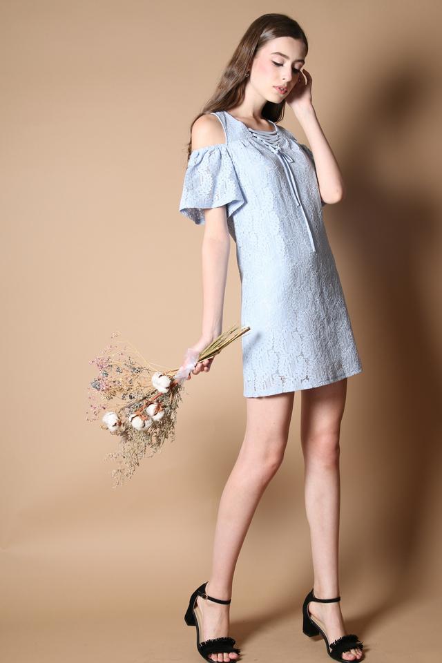 Stelli Cold Shoulder Lace Dress in Powder Blue