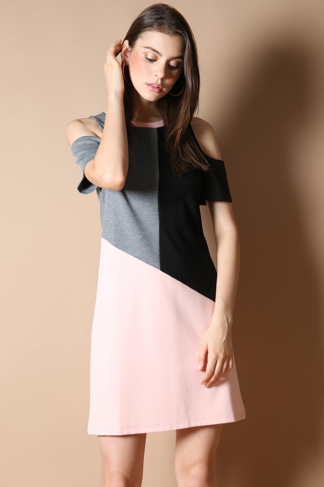 Tiffany Colourblock Dress in Pink
