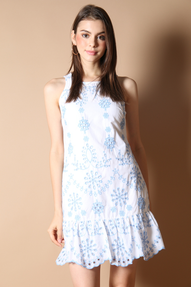 Julia Embroidery Dress in Blue