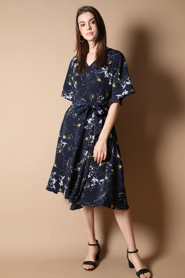 Lydia Floral Midi Dress in Navy