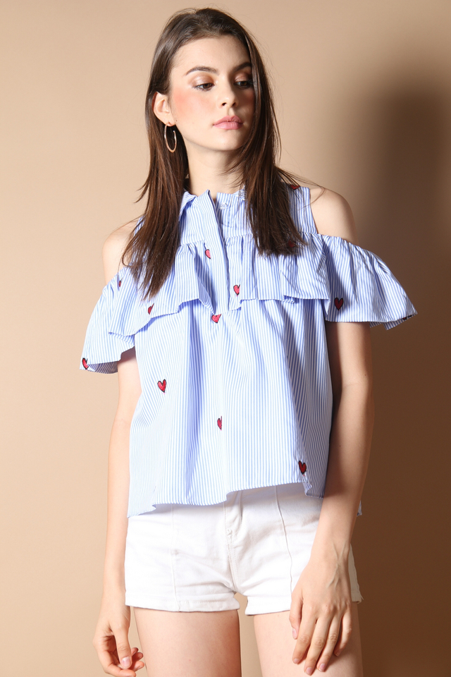 Addison Cold Shoulder Top in Hearts