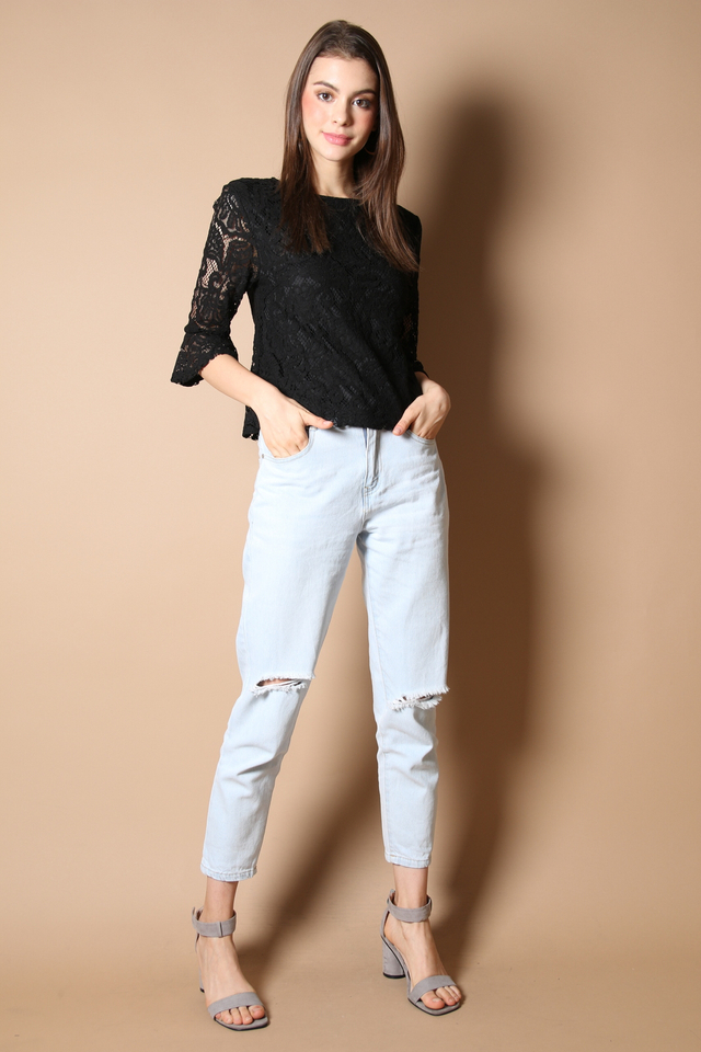 Zaria Lace Bell Sleeve Top in Black