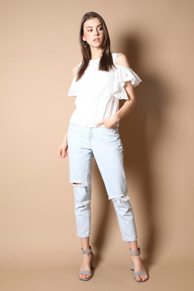 Elise Eyelet Top in White