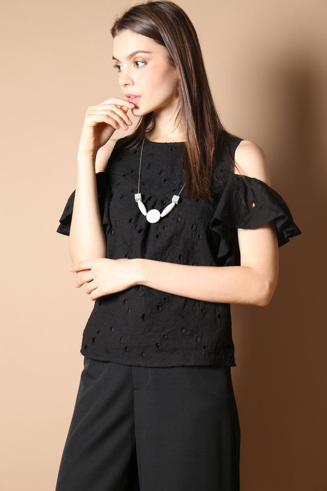 Elise Eyelet Top in Black (S)
