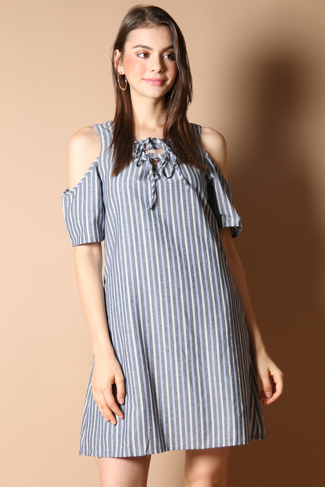 Mia Lace Up Dress in Grey