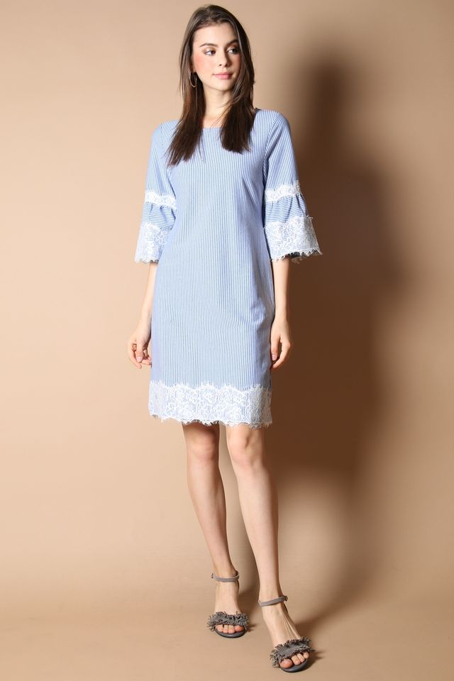 Raina Lace Hem Dress in Light Blue (XS)