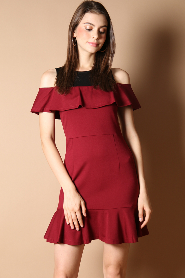Cordelia Cold Shoulder Dress in Wine Red