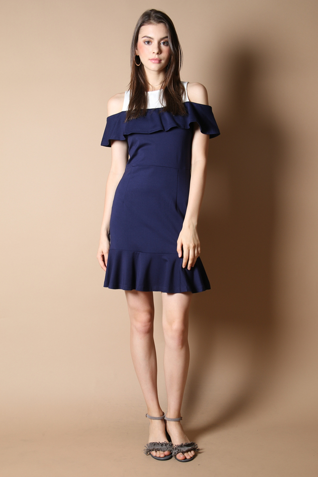 Cordelia Cold Shoulder Dress in Navy