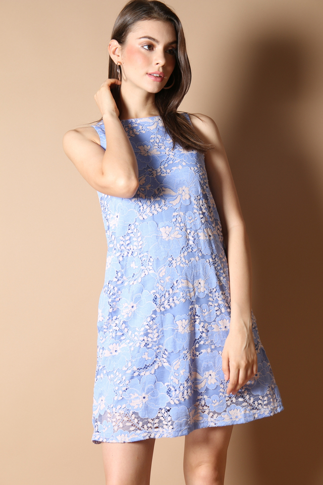 Emilie Lace Flare Dress in Periwinkle
