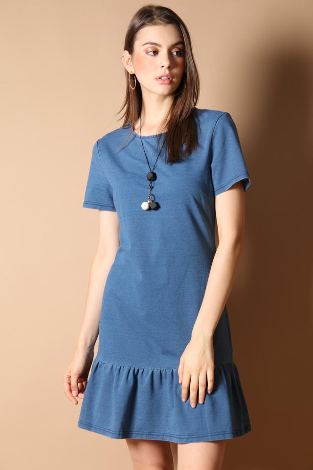 Khloe Drop Waist Dress in Blue Denim