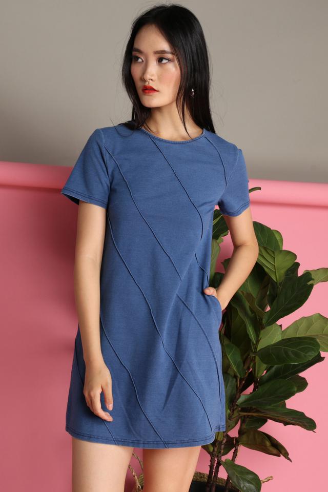 Moana Embossed Denim Dress in Blue