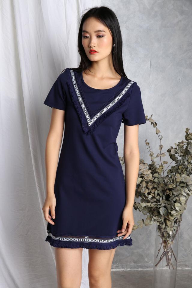 Valentina Boho Fringe Dress in Navy