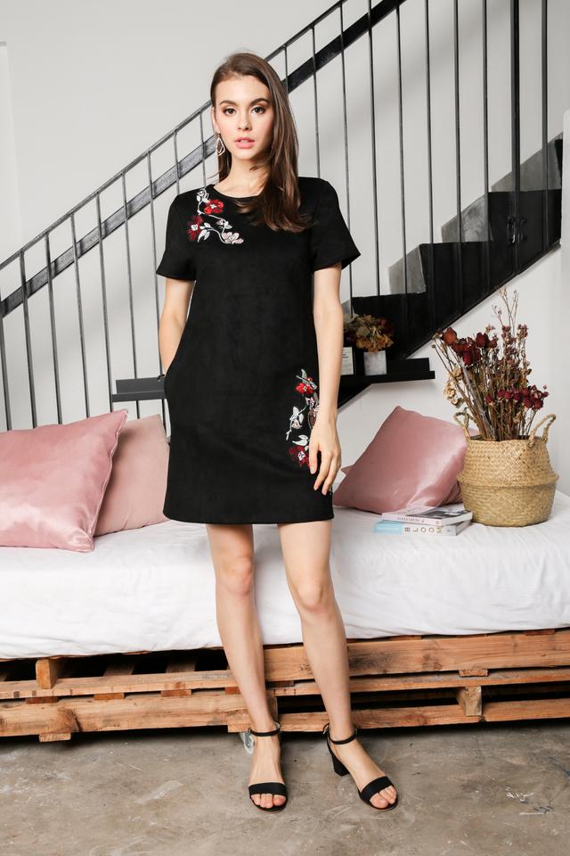 Callie Floral Suede Dress in Black